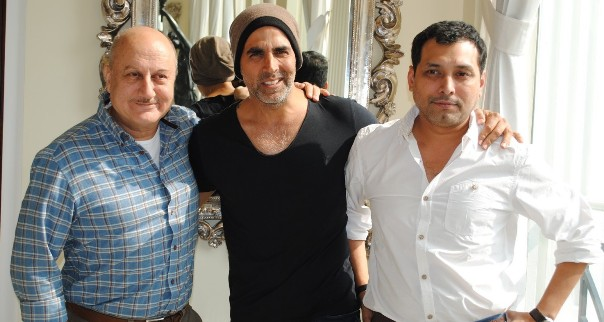 Akshay Kumar, Anupam Kher & Director Neeraj Pandey spotted in Delhi for promotion of their upcoming film BABY