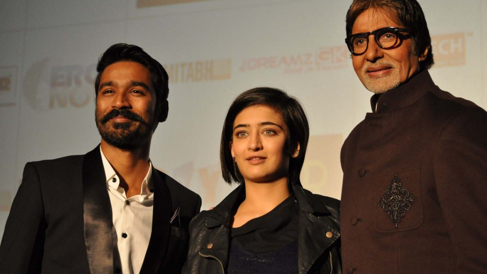 Amitabh Bachchan, Dhanush and Akshara Haasan were seen in P.V.R Plaza, C.P. to promote their upcoming film Shamitabh