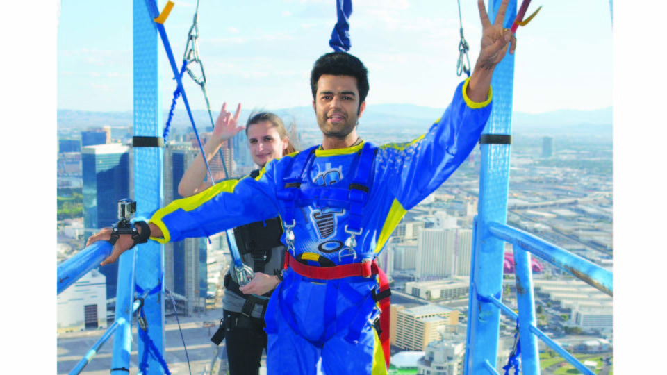 Manish Paul performs North America's highest sky jump!