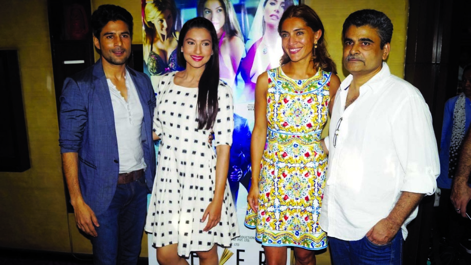 Television News: Rajeev Khandelwal, Gauhar Khan, Caterina Murino and Director Rajeev Jhaveri promoted their upcoming suspense thriller 'Fever' in Spice Cinemas, Noida.